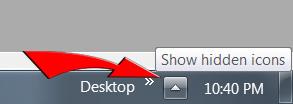 """Click """"Show hidden icons"""""""