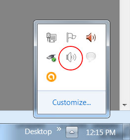 Right-click on the speaker icon (circled in red)
