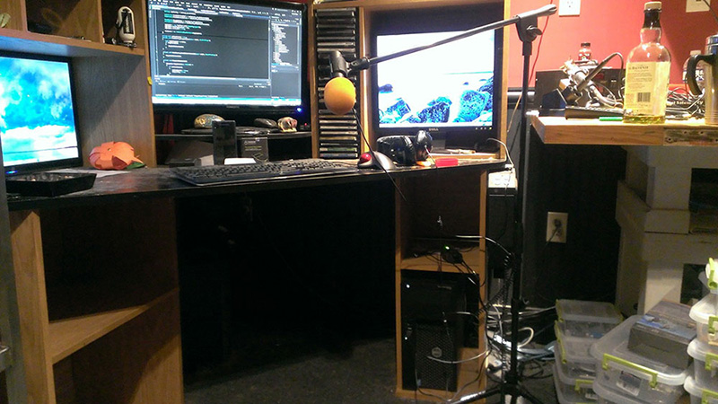 AT2005USB mic on stand permanently set up in Derrick's FeenPhone creation laboratory